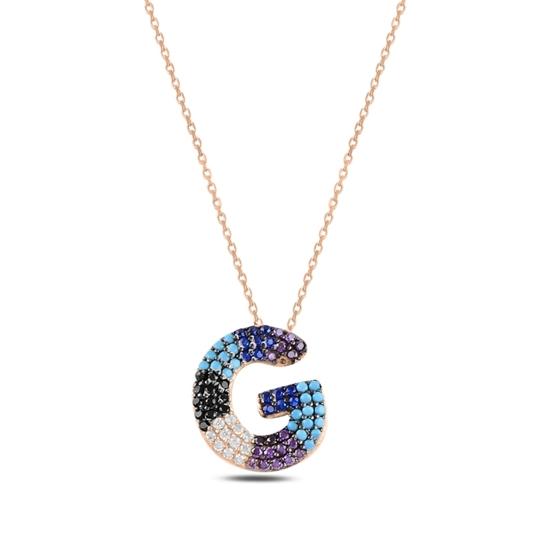 Ürün resmi: Rose Kaplama -G- Harfi Renkli Zirkon Taşlı Gümüş Bayan Hayalet Kolye