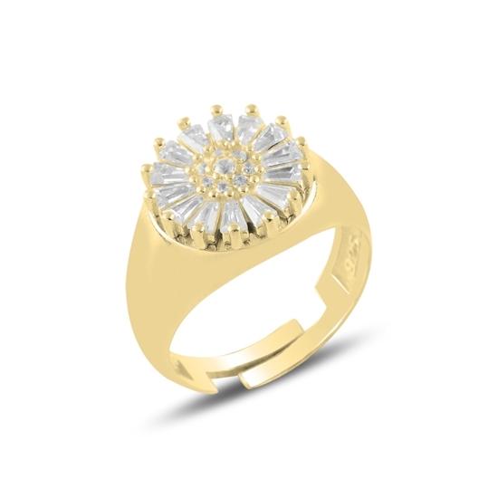 Ürün resmi: Altın Kaplama Baget Zirkon Taşlı Gümüş Bayan Yüzük