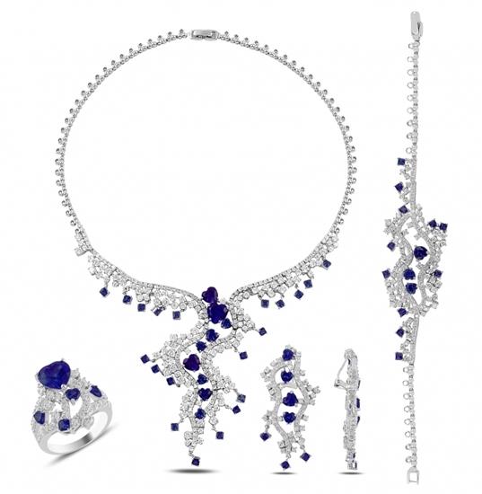 Ürün resmi: Rodyum Kaplama Safir Zirkon Taşlı Gümüş Bayan Set