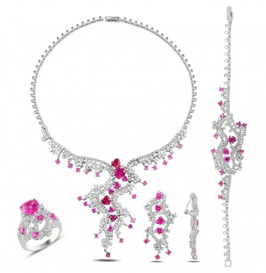 Ürün resmi: Rodyum Kaplama Yakut Zirkon Taşlı Gümüş Bayan Set