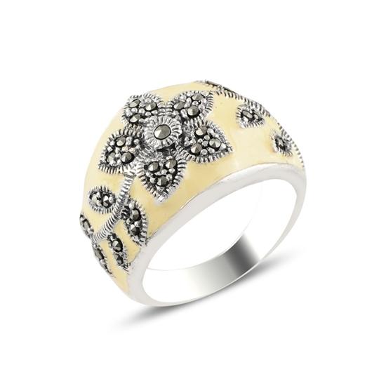 Ürün resmi: Çiçek Desenli Markazit Taş & Mineli Gümüş Bayan Yüzük