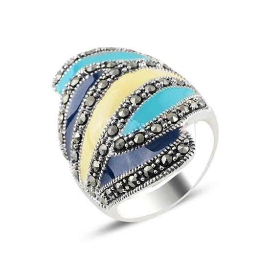 Ürün resmi: Markazit Taş & Mineli Gümüş Bayan Yüzük