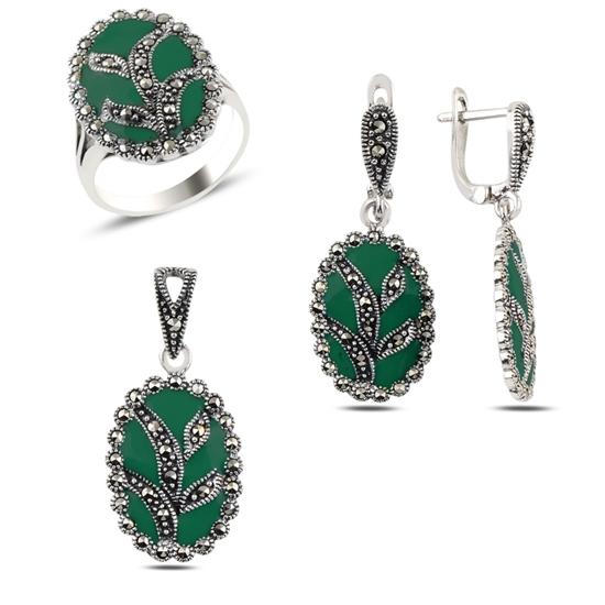 Ürün resmi: Mine & Markazit Taşlı Gümüş Bayan Set