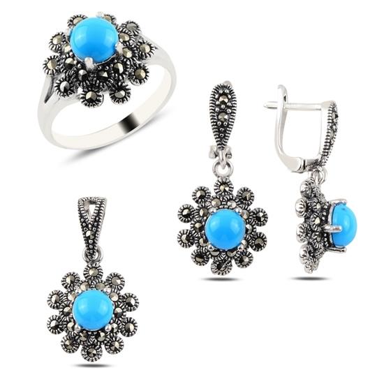 Ürün resmi: Turkuaz & Markazit Taşlı Gümüş Bayan Set