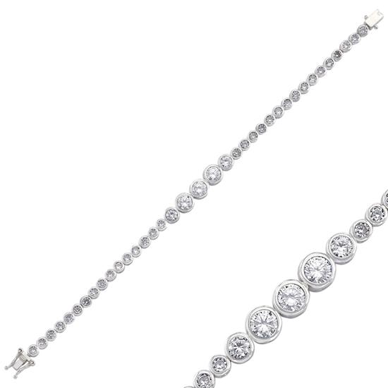Ürün resmi: Rodyum Kaplama Zirkon Taşlı Süzme Suyolu Gümüş Bayan Bileklik