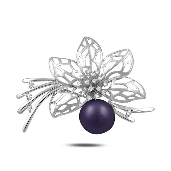 Ürün resmi: Rodyum Kaplama Çiçek Doğal Siyah İnci & Zirkon Taşlı Gümüş Broş