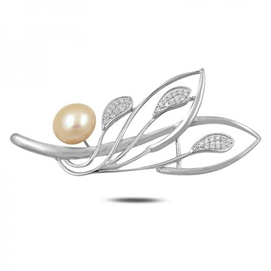 Ürün resmi: Rodyum Kaplama Yaprak Doğal İnci & Zirkon Taşlı Gümüş Broş