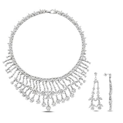 Resim Rodyum Kaplama Zirkon Taşlı Gümüş Bayan Set