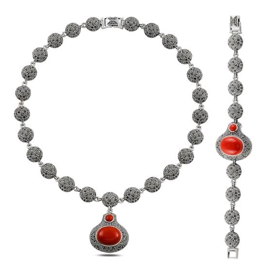 Ürün resmi: Markazit & Mercan Gümüş Bayan Set
