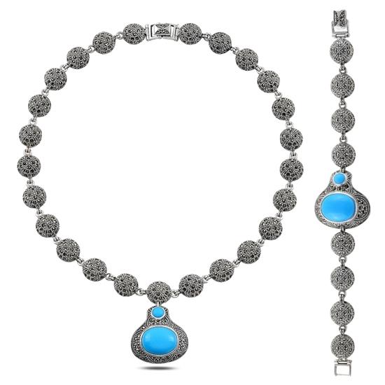 Ürün resmi: Markazit & Turkuaz Taşlı Gümüş Bayan Set