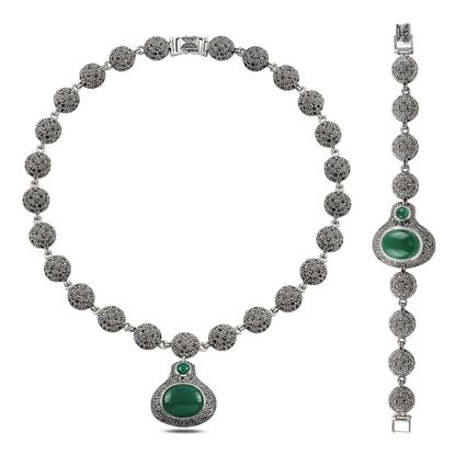 Resim Markazit & Yeşil Akik Taşlı Gümüş Bayan Set