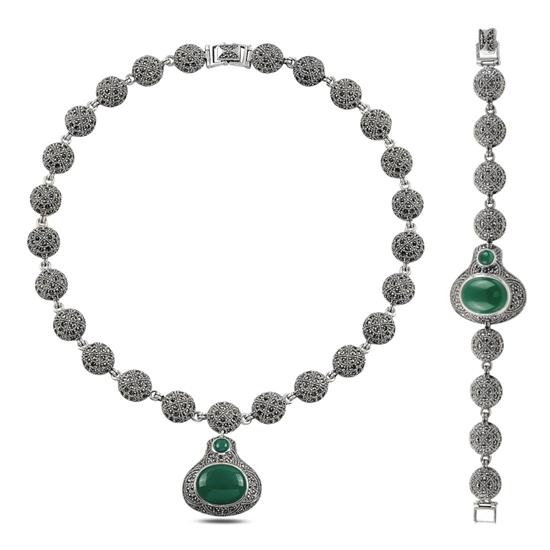 Ürün resmi: Markazit & Yeşil Akik Taşlı Gümüş Bayan Set