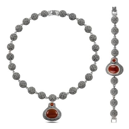 Resim Markazit & Kırmızı Akik Taşlı Gümüş Bayan Set