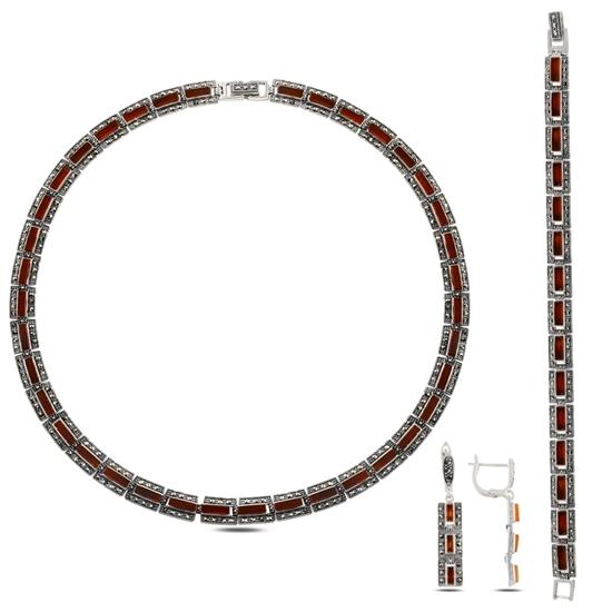 Ürün resmi: Markazit & Kırmızı Akik Taşlı Gümüş Bayan Set