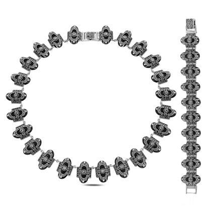 Resim Markazit & Oniks Taşlı Gümüş Bayan Set