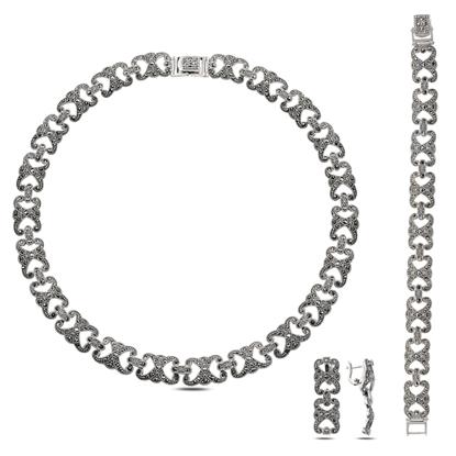 Resim Markazit Taşlı Gümüş Bayan Set