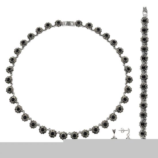 Ürün resmi: Markazit & Oniks Taşlı Gümüş Bayan Set