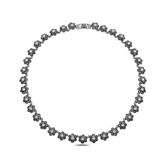 Ürün resmi: Markazit & Sedef Taşlı Gümüş Bayan Kolye