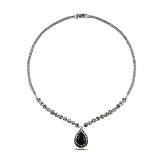 Ürün resmi: Markazit & Oniks Taşlı Gümüş Bayan Kolye