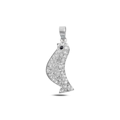 Resim Kuş Kristal Taşlı Gümüş Bayan Kolye Ucu