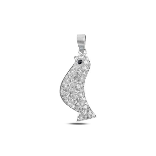 Ürün resmi: Kuş Kristal Taşlı Gümüş Bayan Kolye Ucu
