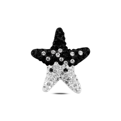 Resim Denizyıldızı Kristal Taşlı Gümüş Bayan Kolye Ucu