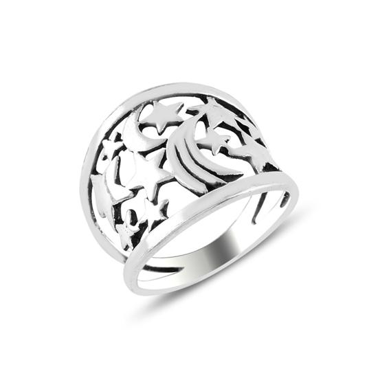 Ürün resmi: Ay & Yıldız Oksitli Gümüş Bayan Yüzük