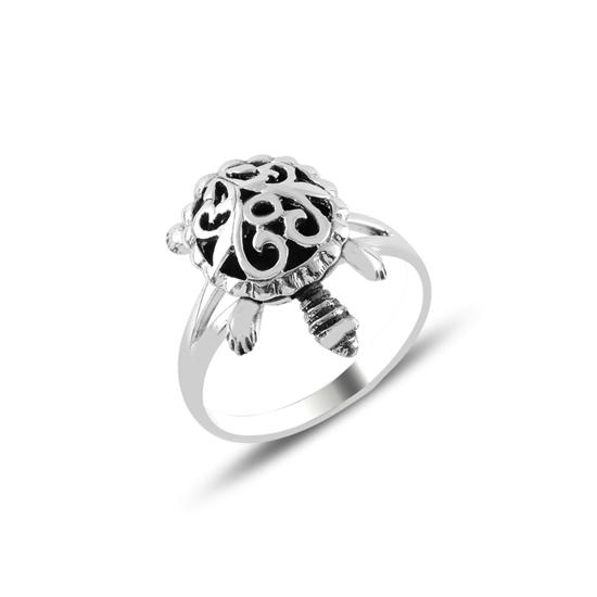 Ürün resmi: Hareketli Kaplumbağa Oksitli Gümüş Bayan Yüzük