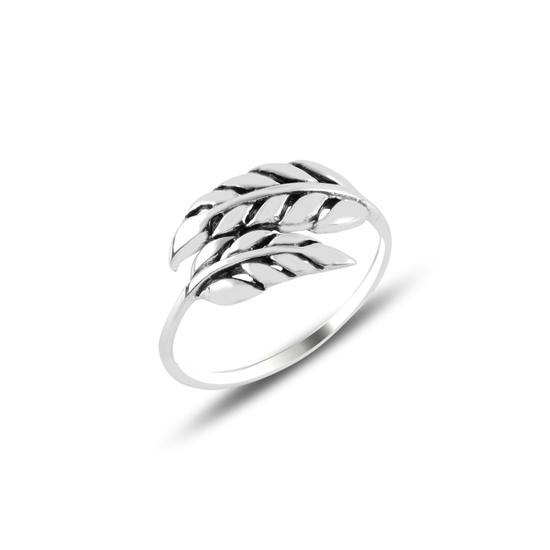 Ürün resmi: Yaprak Oksitli Gümüş Bayan Yüzük