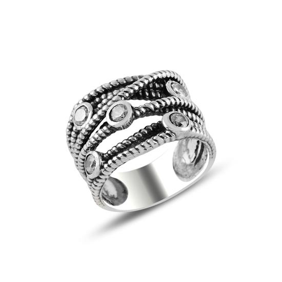 Ürün resmi: Oksitli Zirkon Taşlı Gümüş Bayan Yüzük