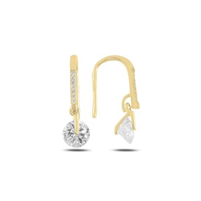 Resim Altın Kaplama Yuvarlak Sallantılı Zirkon Taşlı Gümüş Küpe