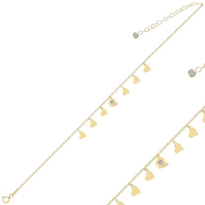 Resim Altın Kaplama Kalp Sallantılı Zirkon Taşlı Gümüş Bayan Bileklik