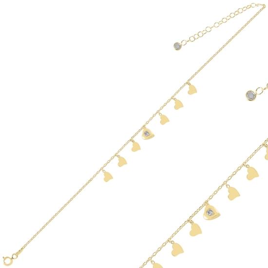 Ürün resmi: Altın Kaplama Kalp Sallantılı Zirkon Taşlı Gümüş Bayan Bileklik