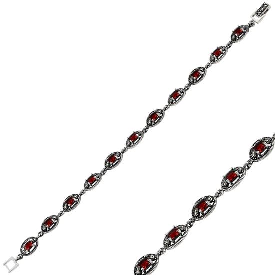 Ürün resmi: Garnet Zirkon & Markazit Taşlı Gümüş Bayan Bileklik