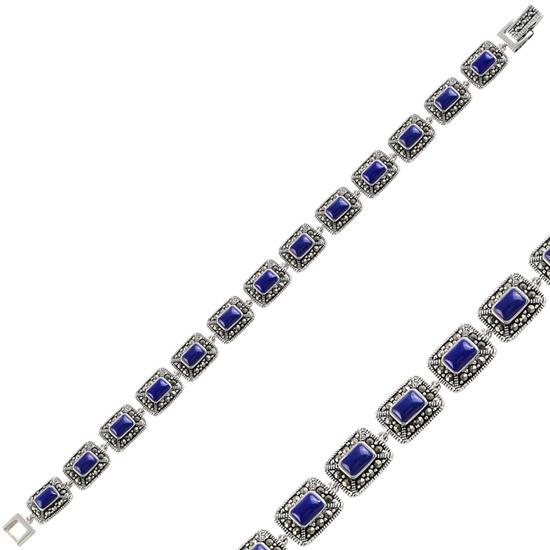 Ürün resmi: Lapis Lazuli & Markazit Taşlı Gümüş Bayan Bileklik