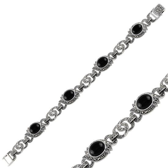 Ürün resmi: Oniks & Markazit Taşlı Gümüş Bayan Bileklik