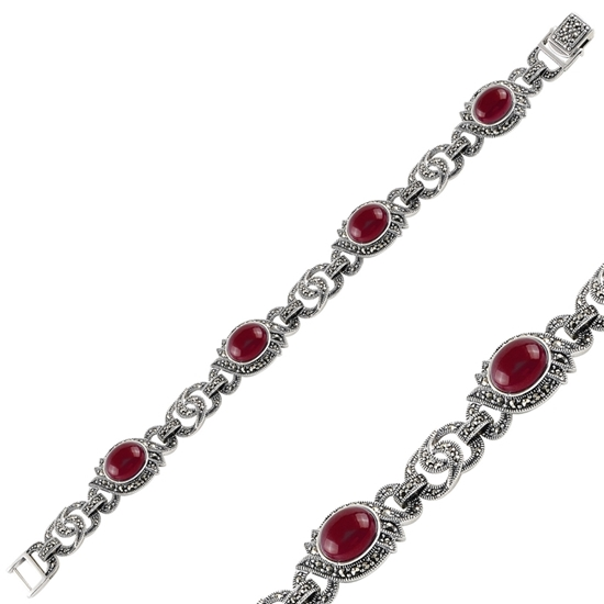Ürün resmi: Kırmızı Akik & Markazit Taşlı Gümüş Bayan Bileklik
