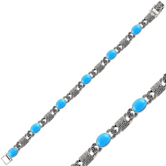 Ürün resmi: Turkuaz & Markazit Taşlı Gümüş Bayan Bileklik
