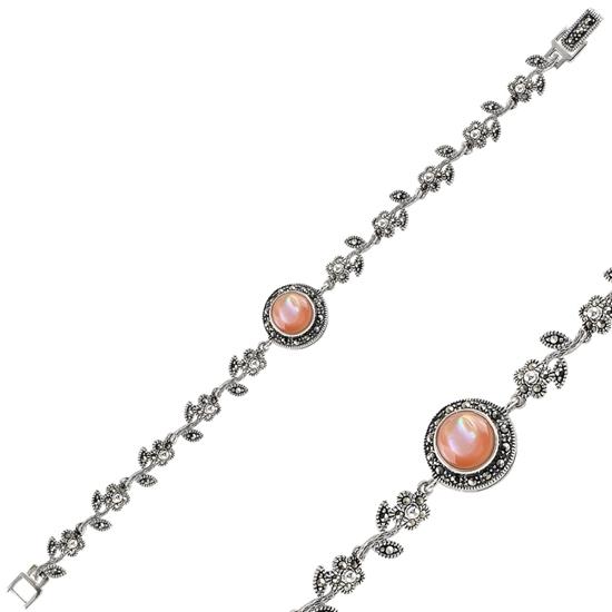 Ürün resmi: Sedef & Markazit Taşlı Gümüş Bayan Bileklik