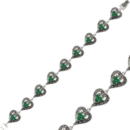 Ürün resmi: Yeşil Akik & Markazit Taşlı Gümüş Bayan Bileklik