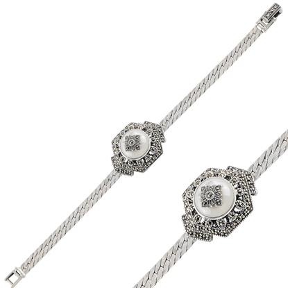 Resim Sedef & Markazit Taşlı Gümüş Bayan Bileklik