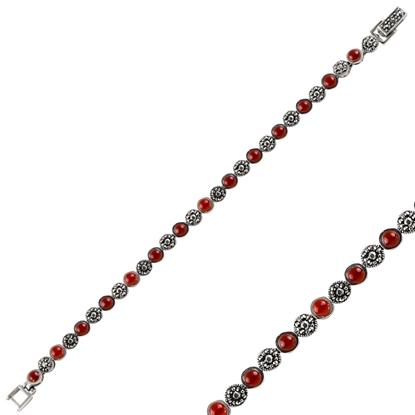 Resim Kırmızı Akik & Markazit Taşlı Gümüş Bayan Bileklik