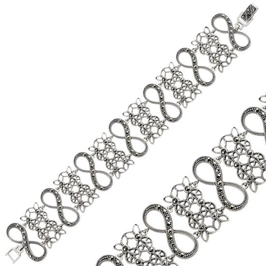 Ürün resmi: Sonsuzluk Markazit Taşlı Gümüş Bayan Bileklik