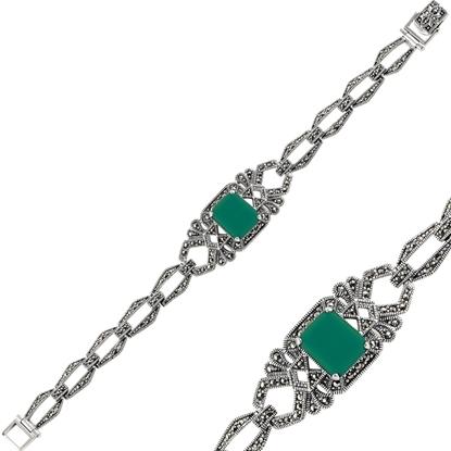 Resim Yeşil Akik & Markazit Taşlı Gümüş Bayan Bileklik