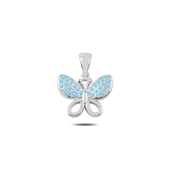 Ürün resmi: Rodyum Kaplama Zirkon Taşlı Kelebek Gümüş Bayan Kolye Ucu