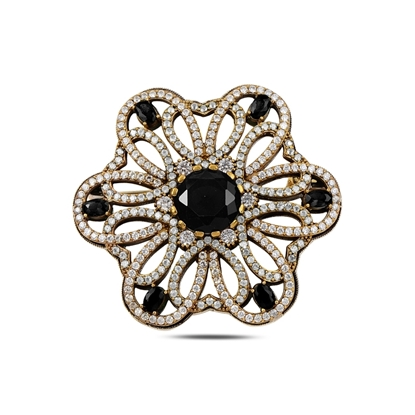 Resim Siyah Zirkon Zirkon Taşlı Otantik Gümüş Broş