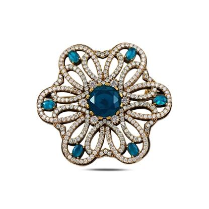 Resim Akuamarin Zirkon (Açık Mavi) Zirkon Taşlı Otantik Gümüş Broş
