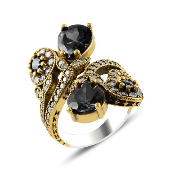 Ürün resmi: Siyah Zirkon Taşlı Otantik Gümüş Bayan Yüzük