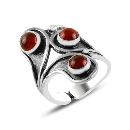 Ürün resmi: Kırmızı Akik Taşlı Gümüş Bayan Yüzük