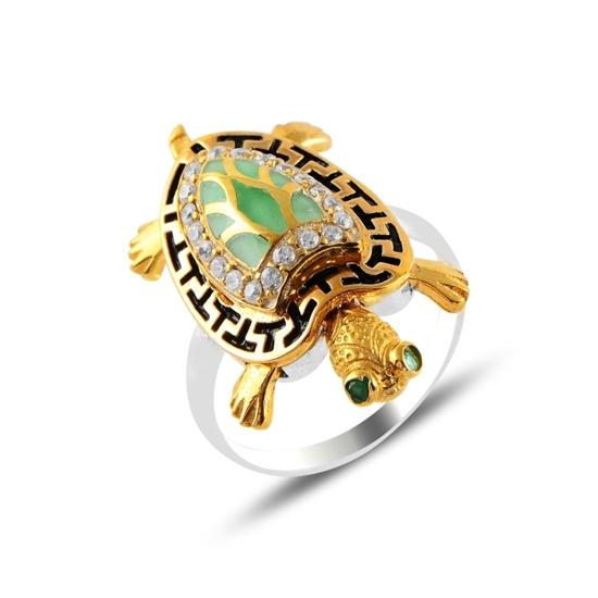 Ürün resmi: Hareketli Kaplumbağa Zirkon Taşlı Otantik Gümüş Bayan Yüzük